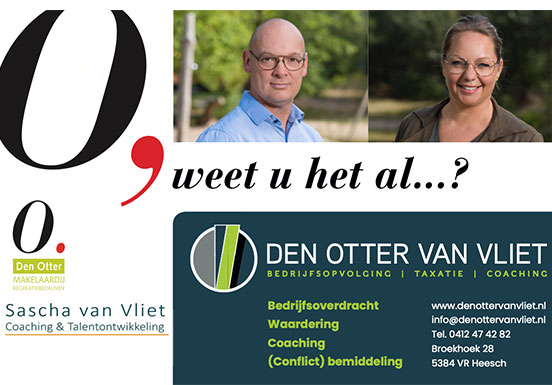 Den Otter Van Vliet van start, bundelen van het zakelijke en het persoonlijke